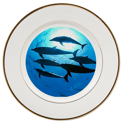 """8"""" Decorative Metal Plate for sublimation - Gold border"""
