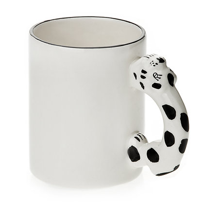 11oz White Ceramic Mug with custom dog handle