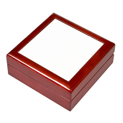 """4.25""""x4.25"""" Wooden Jewelry Box for sublimation coated with tiles"""