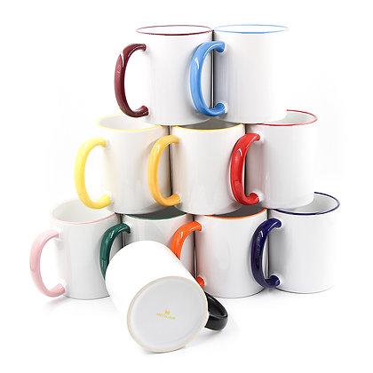 11oz Ceramic Mug for sublimation - Colorful border and handle