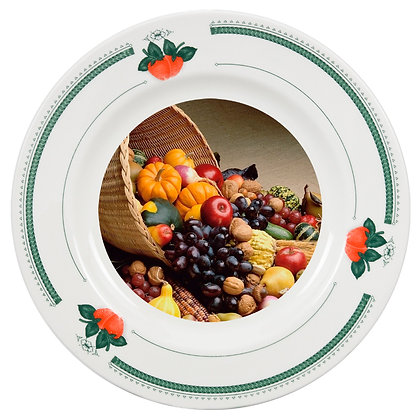 "8"" Decorative Plate for sublimation - Green strawberry ornament"