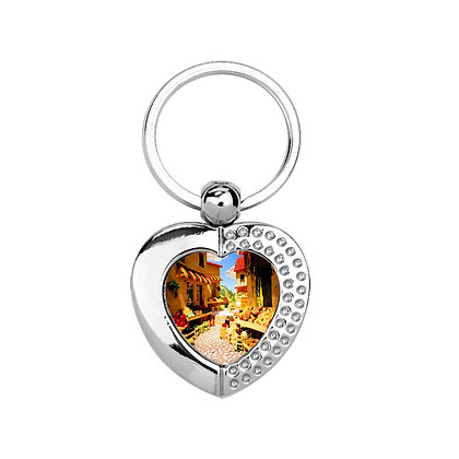 Heart-shaped metallic Keychain for sublimation