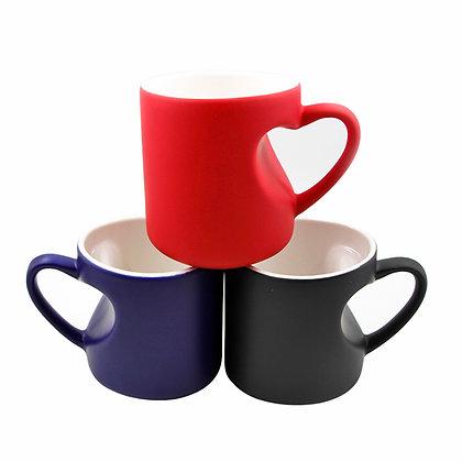 11oz Color-change Matte Mug with heart-shaped handle