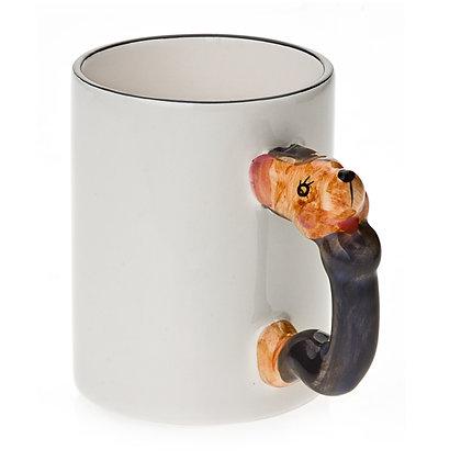 11oz White Ceramic Mug with custom mouse handle