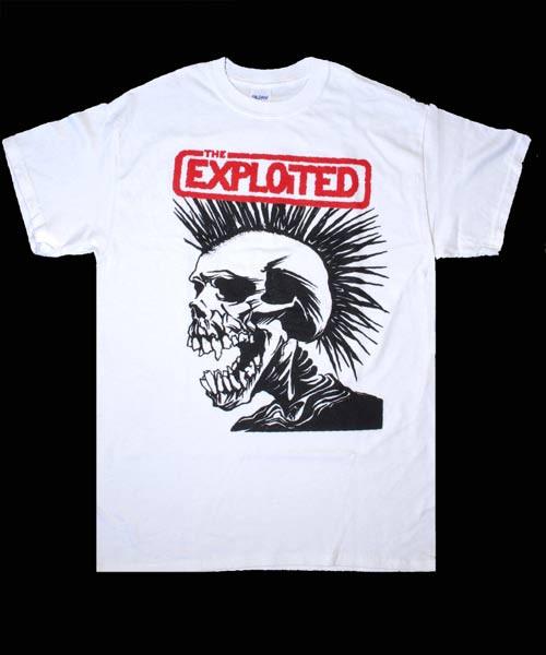 EXPLOITED Tシャツ PUSHED SKULL STAMP WHITE