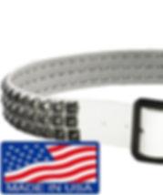 スタッズベルト 本革 3連 白 ブラックピラミッド メンズ パンクロック
