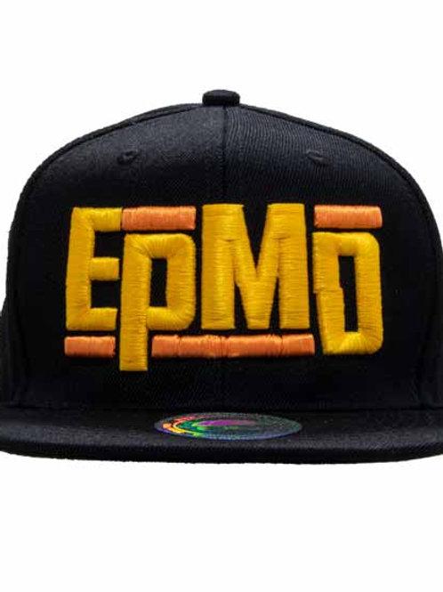 Epmd 6パネルスナップバックキャップ  ブラック バンドロゴ