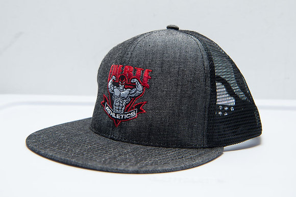 Mega Cotton Twill Flat Bill Trucker (Denim Black with Red Fuerte Athletics Logo)