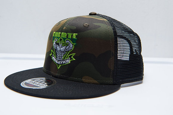 Otto-Camouflage Cotton Twill Flat Visor Pro Style Mesh Back (Green Fuerte Athlet