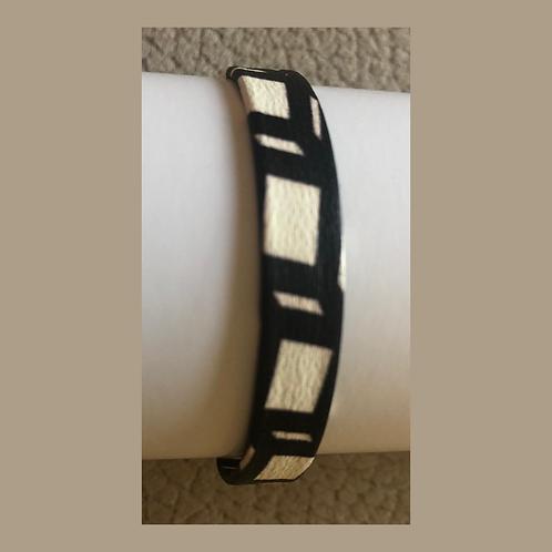 Leder-Armband,  zweifarbig weiß / schwarz