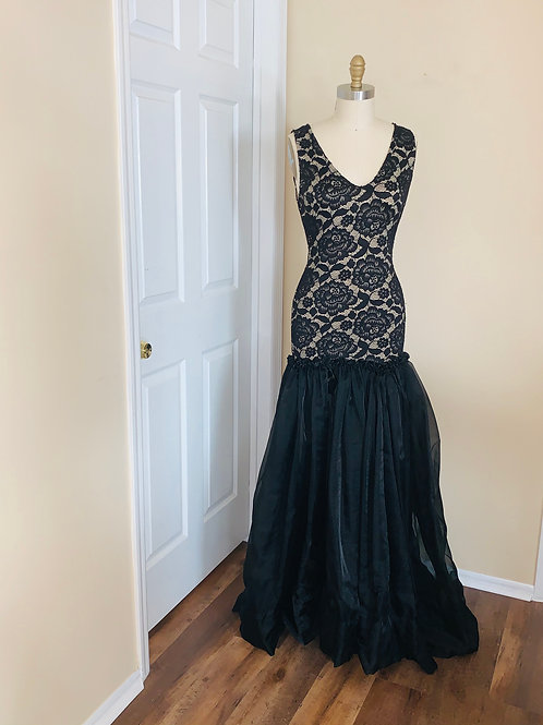Black lace with nude lining gown Fitted to full Organza bottom