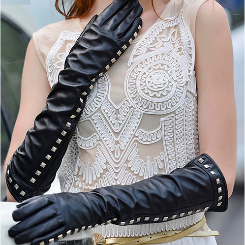 Black Long Leather Gloves