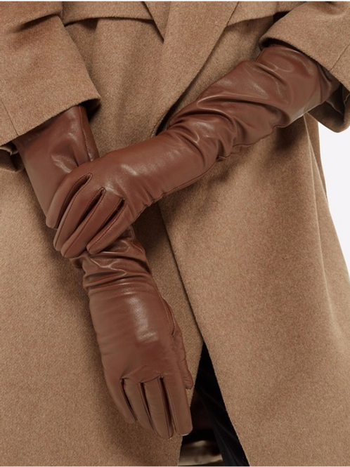 Brown Long Real Sheep  Leather Gloves