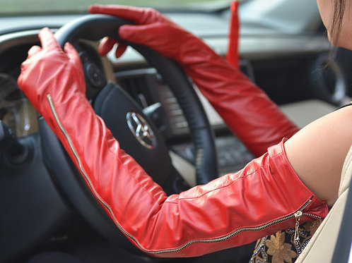 Red Long Opera Real Sheep  Leather Gloves