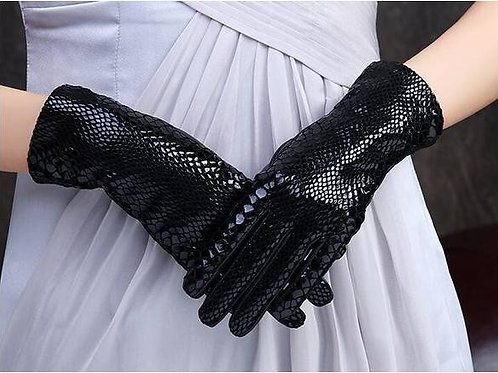 Black Touch Screen Leather Gloves