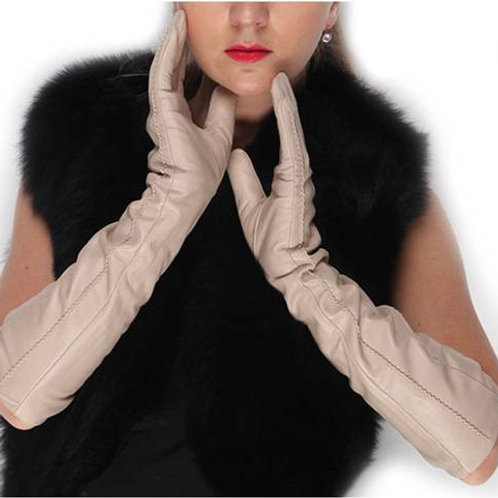 Beige Long Leather Gloves