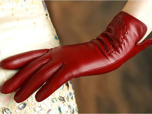 Velvet Red Short Leather Gloves