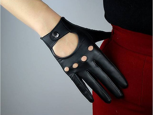 Black Short Drivers   Leather Gloves