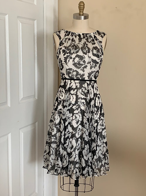Black & White Flower Print Dress
