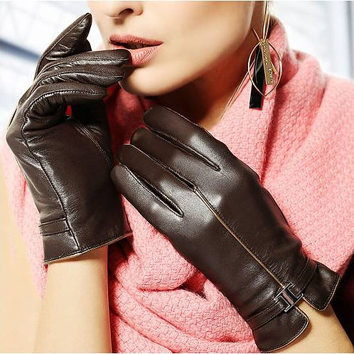 Brown Short Leather Gloves