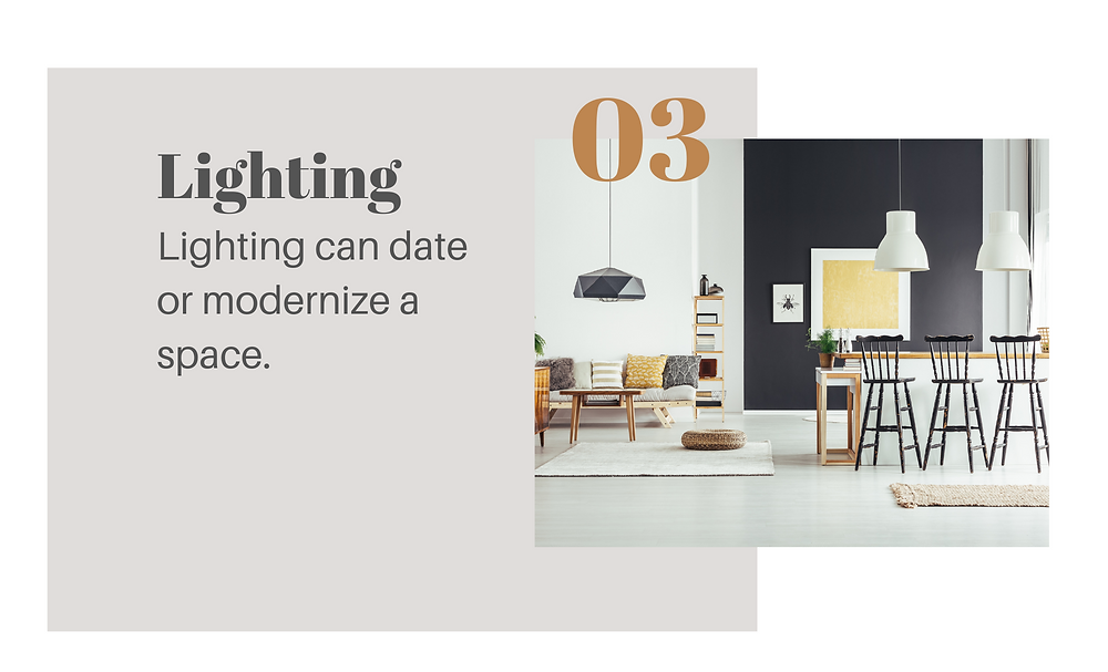 Lighting: Lighting can date or modernize your space. Modern kitchen and dinning rom. Pendants and chandeliers/