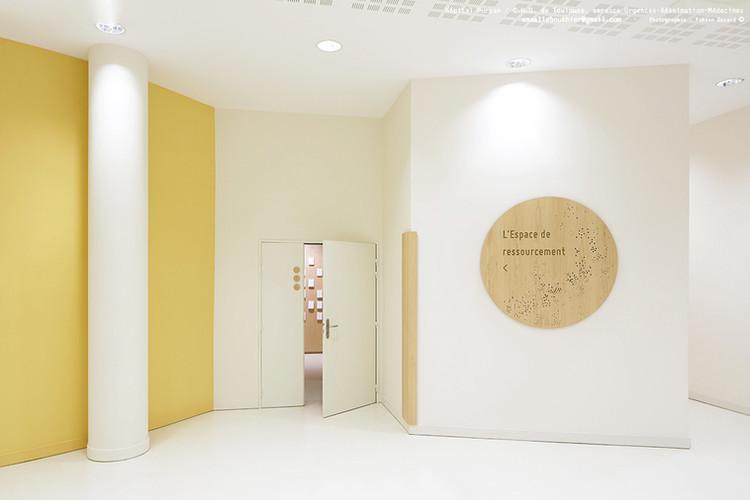 Ssignalétique gravure sur bois, Espace de ressourcement, Purpan, Toulouse