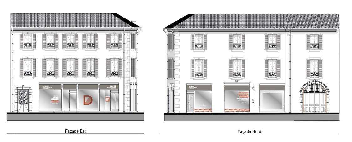 Habillage graphique pour vitrines de l'Agence Despré, Architecture et Solutions d'aménagements, Nay