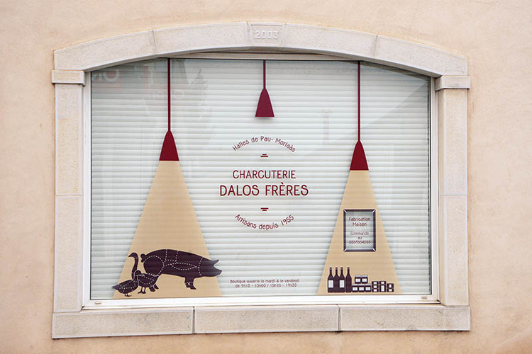 Habillage vitraux, Charcuterie Dalos Frères, Morlàas