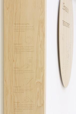 Signalétique gravure sur bois, Espace de ressourcement, Purpan, Toulouse