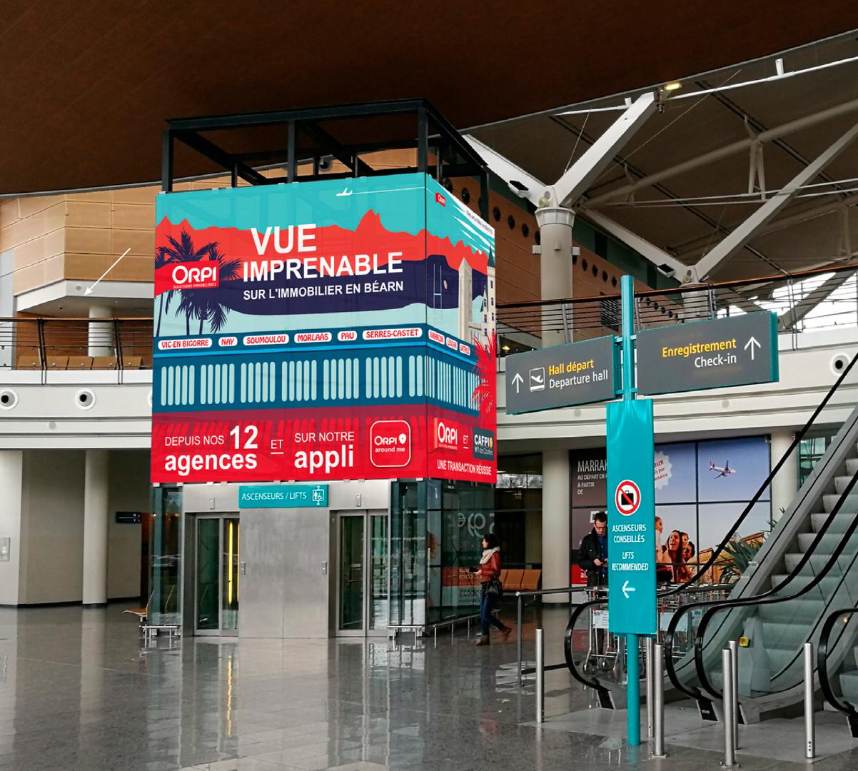 Publicité, aéroport de Pau, Gie Orpi