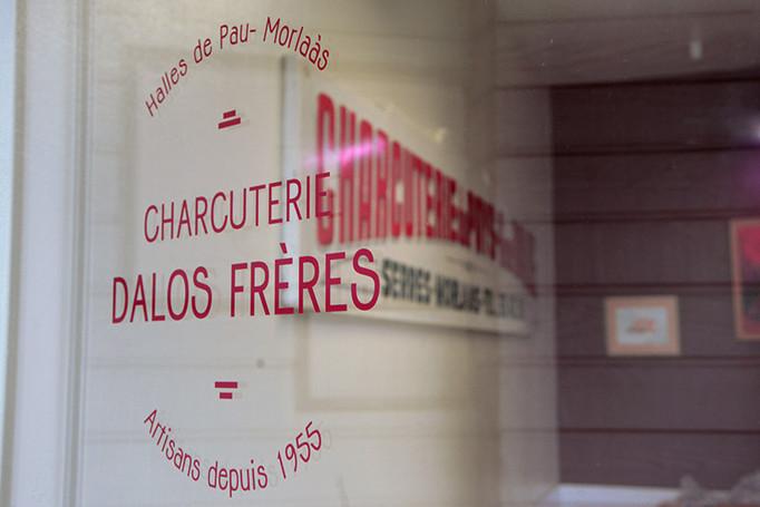Logotype & vitrophanie, Charcuterie Dalos Frères, Morlàas