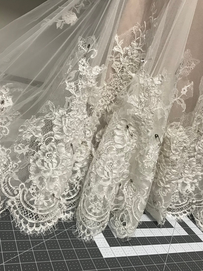 lace hem wedding gown