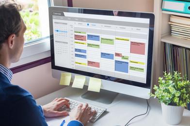 Calendar software showing busy schedule