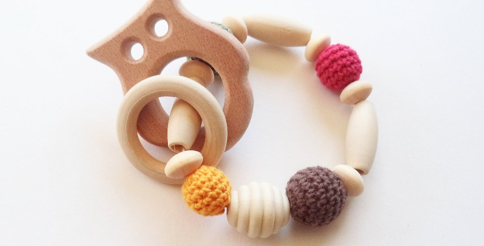 Owl Wood Baby Teether/Rattle