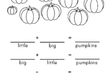 Pumpkin Fact Families for 10 Worksheets/Math Center