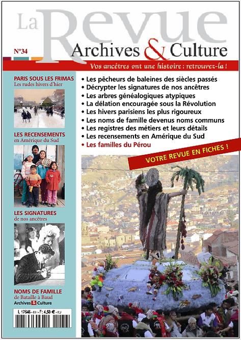 Revue Archives & Culture n° 34