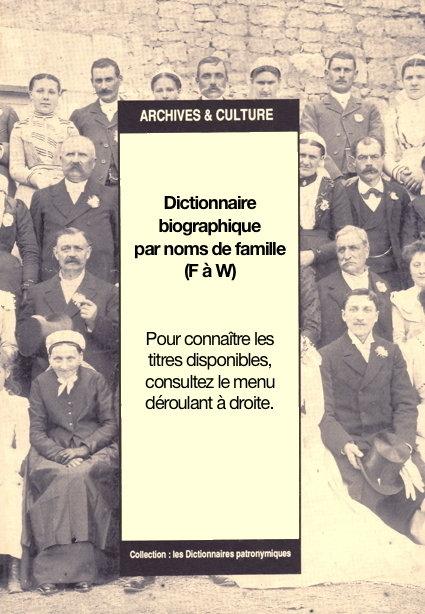 Dictionnaires biographiques par nom de famille (G-W)