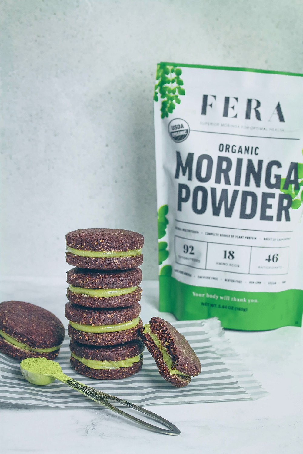 MINT MORINGA OREOS (VEGAN & GLUTEN-FREE) with FERA