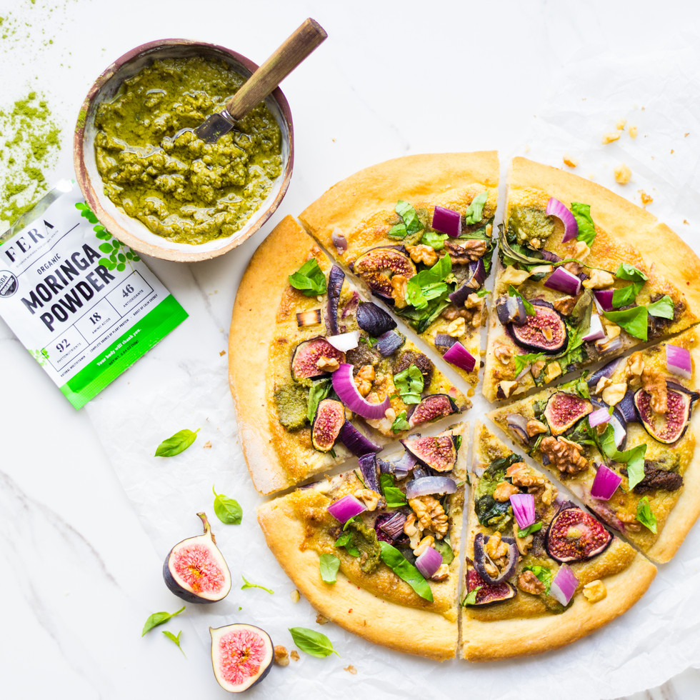 Fig Pizza with Cashew Cheese & Walnut Moringa Pesto