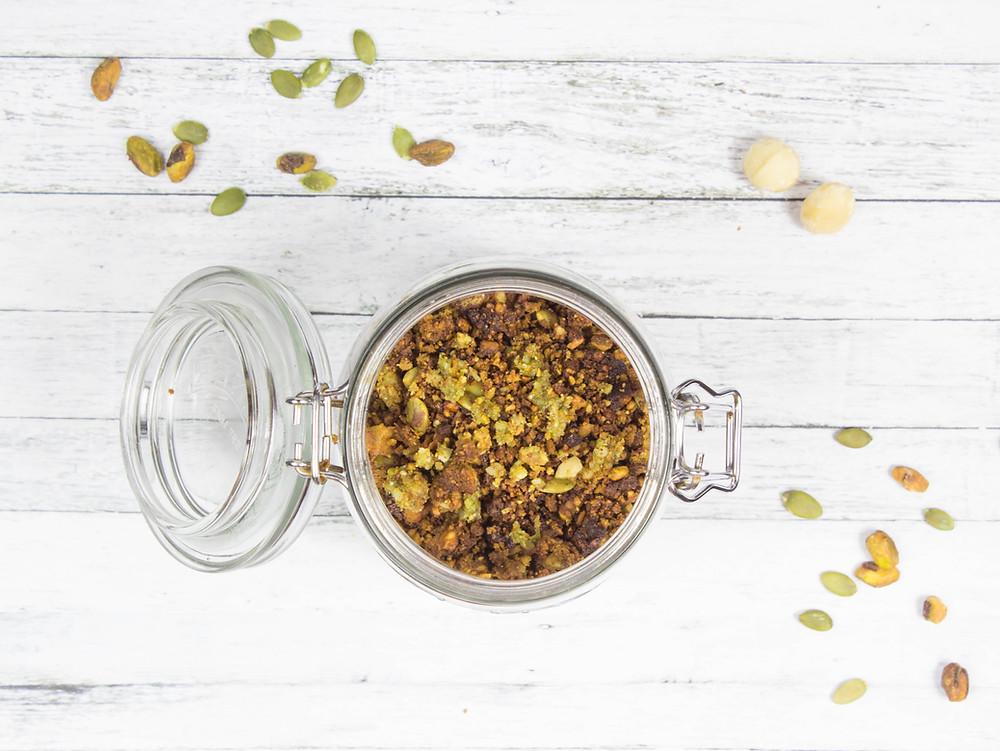 Grain-Free and Gluten Free Moringa Granola in Glass Jar