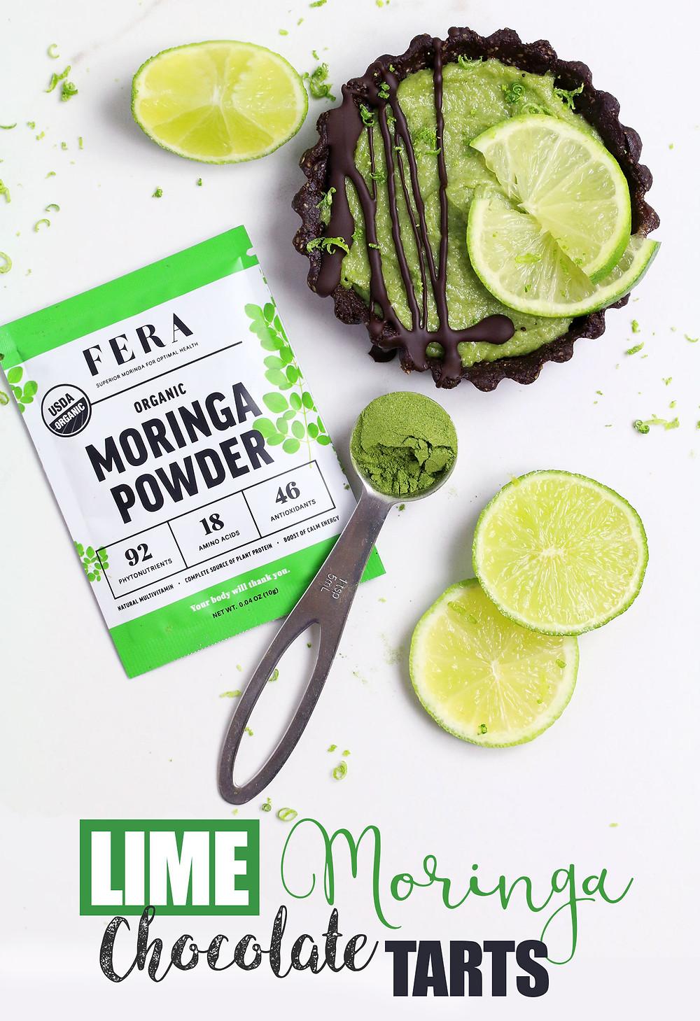 FERA Moringa Lime Chocolate Tarts