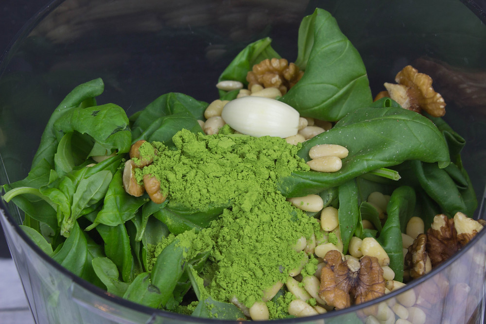 Moringa Pesto Sauce Ingredients in Food Processor