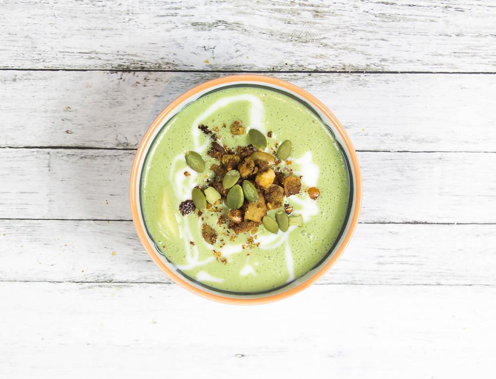 Moringa yogurt topped with grain free Moringa granola