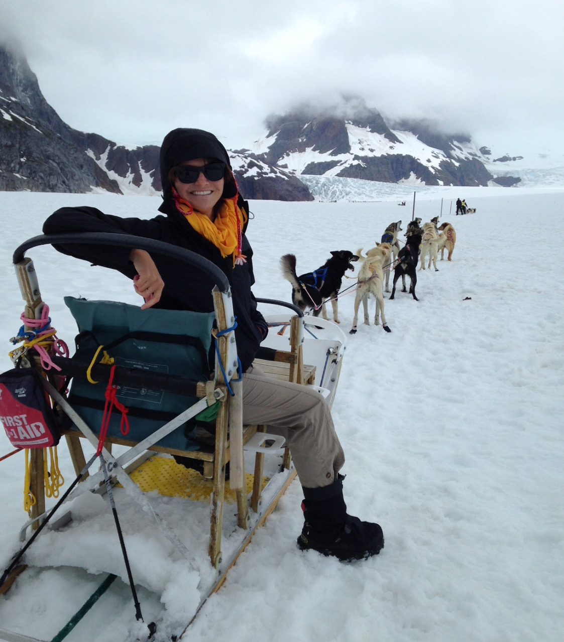 Dog-sledding on a glacier in Alaska