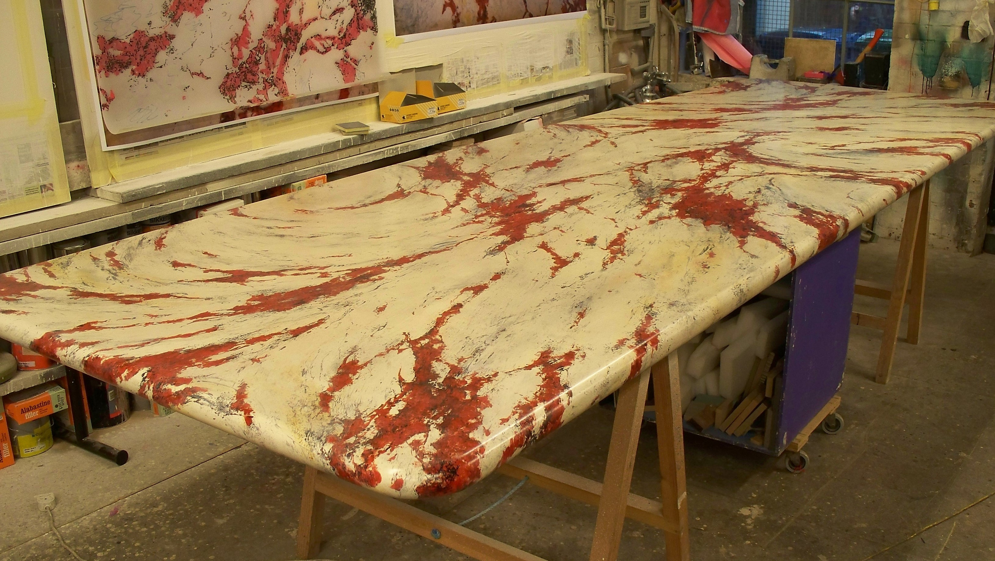 Dining Table Marbling
