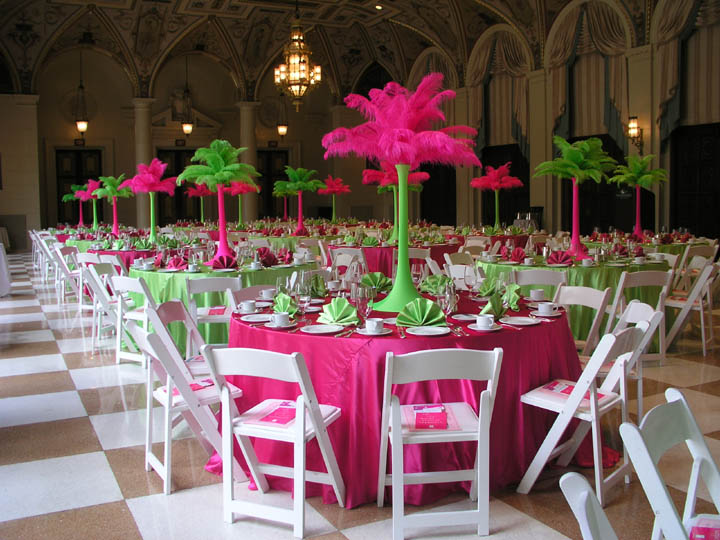 Hot pink lime green centerpieces