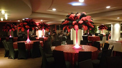 Red black feather centerpieces