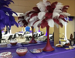 Burgundy, White Feather Centerpiece