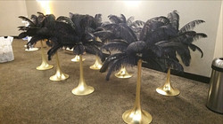 Black ostrich feathers Centerpieces