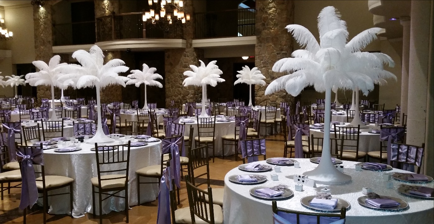 Rent elegant ostrich feather centerpieces houston